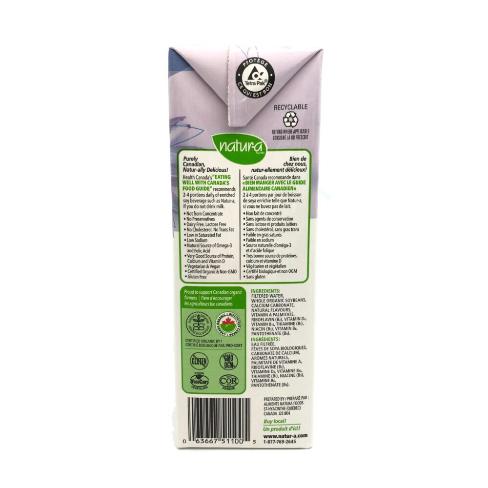 Natur-A Organic Enriched Soy Beverage - Unsweetened 946ml Canada back